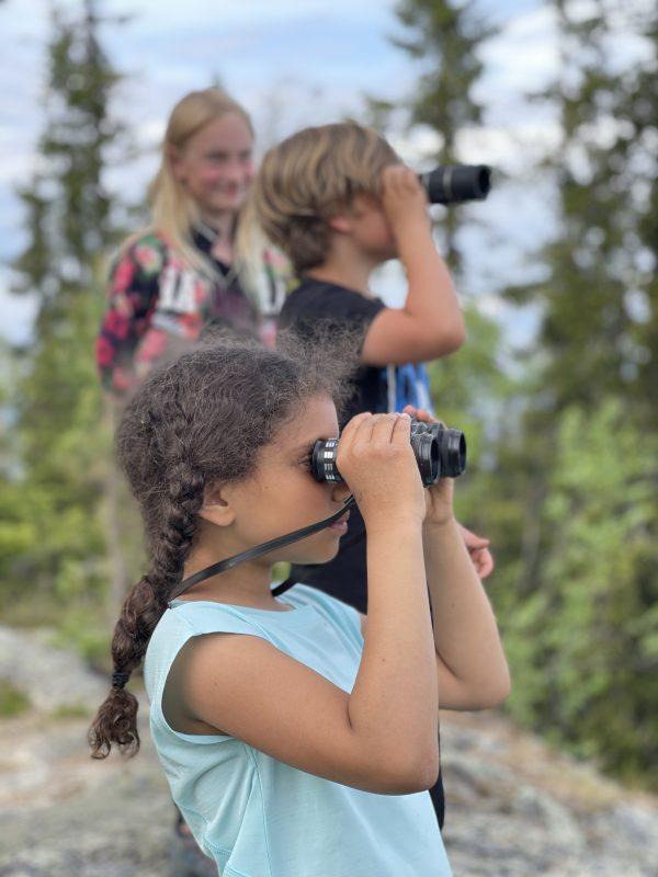 Några barn kikar ut över Storsjön från Hoverberget